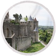 Towers And Townwall  - Carcassonne Round Beach Towel