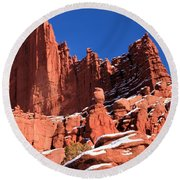 Towers In The Sky Round Beach Towel