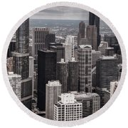 Towers Of Chicago Round Beach Towel