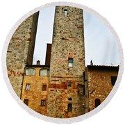 Towers Of San Gimignano Round Beach Towel