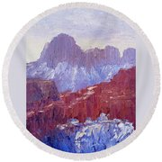 Towers Of The Virgin Valley Round Beach Towel