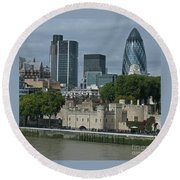 Towers Old And New Round Beach Towel