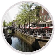 Town Canal - Delft Round Beach Towel