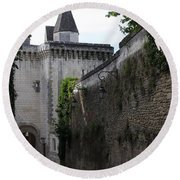 Town Gate - Loches - France Round Beach Towel