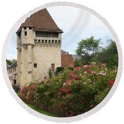 Town Gate - Nevers  Round Beach Towel
