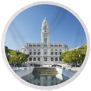 Town Hall In Porto Portugal Round Beach Towel