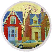 Town Houses In Winter Suburban Side Street South West Montreal City Scene Pointe St Charles Cspandau Round Beach Towel