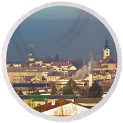 Town Of Bjelovar Winter Skyline Round Beach Towel