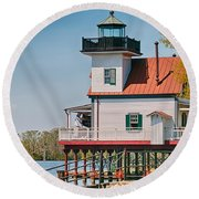 Town Of Edenton Roanoke River Lighthouse In Nc Round Beach Towel