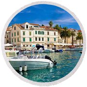 Town Of Hvar Waterfront View Round Beach Towel