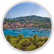 Town Of Kukljica Aerial View Round Beach Towel