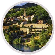 Town Of Sisteron In Provence Round Beach Towel