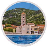 Town Of Tisno Waterfront Croatia Round Beach Towel