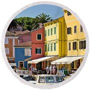 Town Of Veli Losinj Colorful Waterfront Round Beach Towel