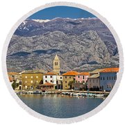 Town Of Vinjerac In Front Of Paklenica National Park Round Beach Towel