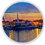 Town Of Vodice Harbor And Monument Round Beach Towel
