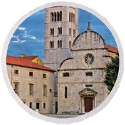 Town Of Zadar Historic Church Round Beach Towel