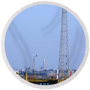 Town Quay Navigation Marker And Fawley Round Beach Towel by Terri Waters