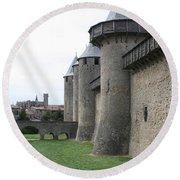 Town Wall - Carcassonne Round Beach Towel
