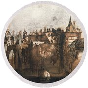 Town With A Broken Bridge Round Beach Towel by Victor Hugo