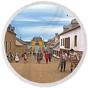 Townsfolk On Street To The Sea In Louisbourg Living History Museum-174 Round Beach Towel