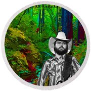 Toy Caldwell In The Woods Round Beach Towel
