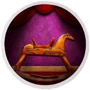 Toy - Hobby Horse Round Beach Towel by Mike Savad