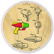 Toy Ray Gun Patent II Round Beach Towel