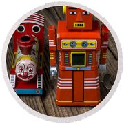 Toy Robot And Train Round Beach Towel