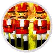 Toy Soldiers Nutcracker Round Beach Towel by Bob Orsillo