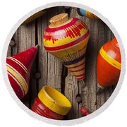 Toy Tops Round Beach Towel by Garry Gay