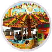 Toy Town Carousel  Round Beach Towel