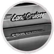 Toyota Land Cruiser Emblem -0581bw Round Beach Towel