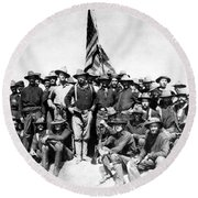 Tr And The Rough Riders Round Beach Towel