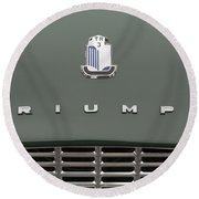 Tr3 Hood Ornament And Grill Round Beach Towel