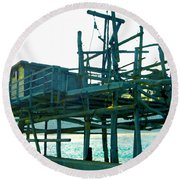 Trabocco 3 - Fishermen Stuff Round Beach Towel