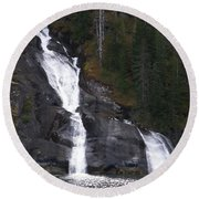 Tracey Arm Fjord Waterfall Round Beach Towel