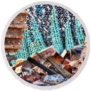 Tracks And Textures Round Beach Towel