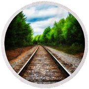 Tracks Through The Woods Round Beach Towel