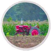 Tractor In A Corn Field Round Beach Towel