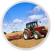 Tractor In Plowed Farm Field Round Beach Towel by Elena Elisseeva