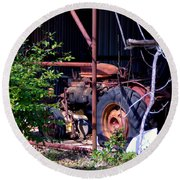 Tractor In Shed Round Beach Towel