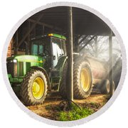Tractor In The Morning Round Beach Towel