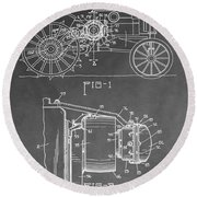 Tractor Patent Round Beach Towel
