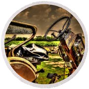 Tractor Seat Round Beach Towel