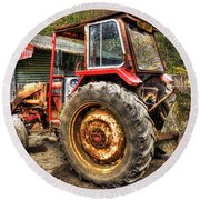 Tractor Round Beach Towel