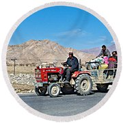 Tractor Towing A Wagon Along The Road To Shigatse-tibet Round Beach Towel