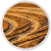 Tractor Tracks Round Beach Towel