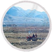 Tractor Used In Farming Along The Road To Shigatse-tibet Round Beach Towel