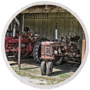Tractors In The Shed Round Beach Towel